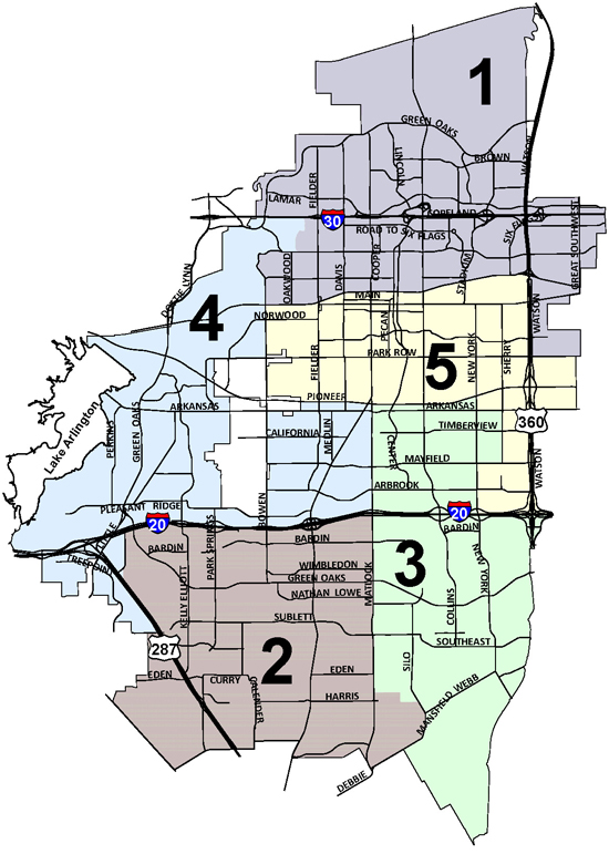 Arlington Texas City Council Districts