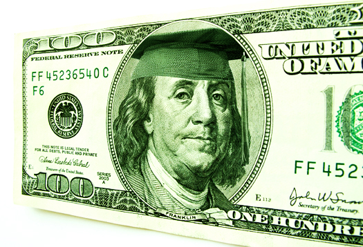Ben Franklin Wearing Graduation Cap on One Hundred Dollar Bill